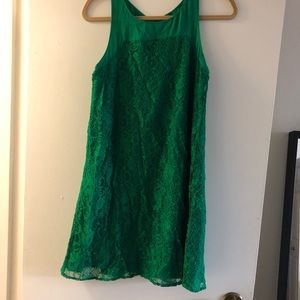 Anthropology green lace dress